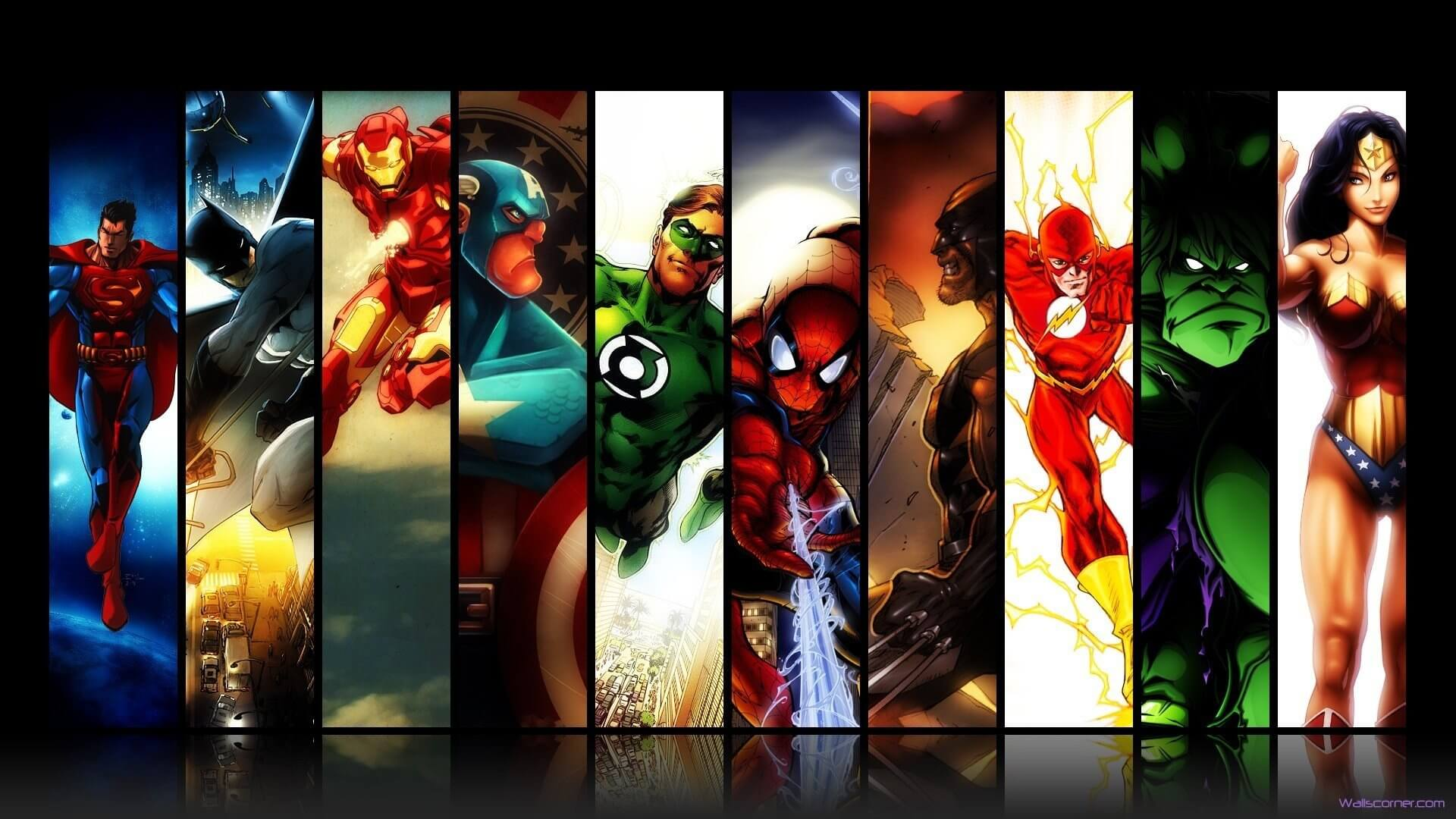 marvel-dc-comics-superman-batman-iron-man-spider-man-green-lantern-captain-america-wolverine-the-flash-hulk-wonder-woman